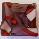 #1166 small square bowl - red